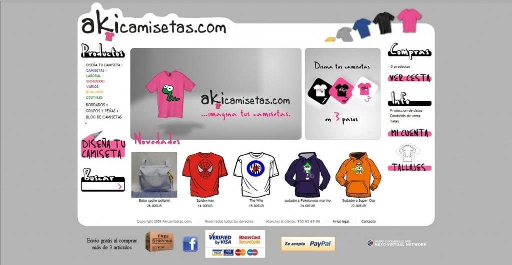 Creación de tienda online de venta de camisetas personalizadas para Akicamisetas