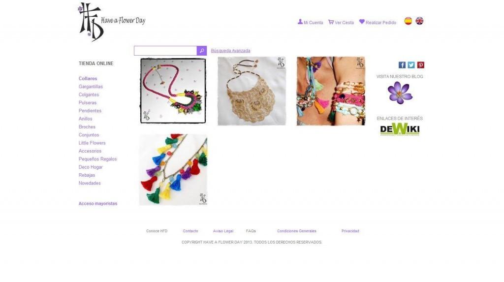 Diseño de tienda online complementos Have a Flower Day