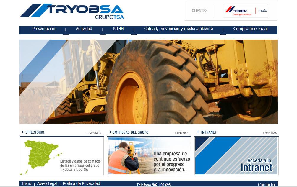 Diseño web para Tryobsa empresa de movimientos de tierra de Madrid