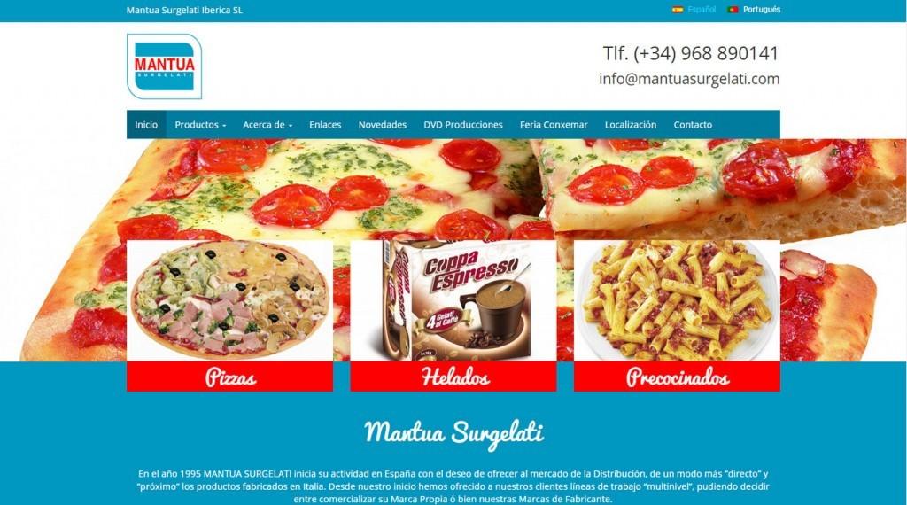 diseño pagina web pizzas helados precocinados Mantua Surgelati