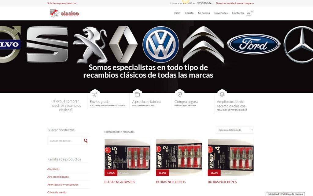 diseño de tienda online recambios de coches clasicos