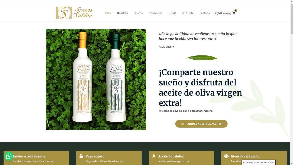 diseño de tienda online venta aceite oliva virgen extra Jaen