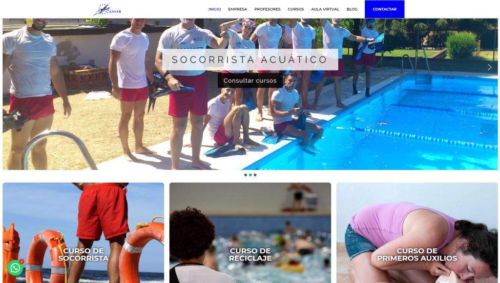 diseño web en Jaén para Ansar cursos de socorrista acuatico