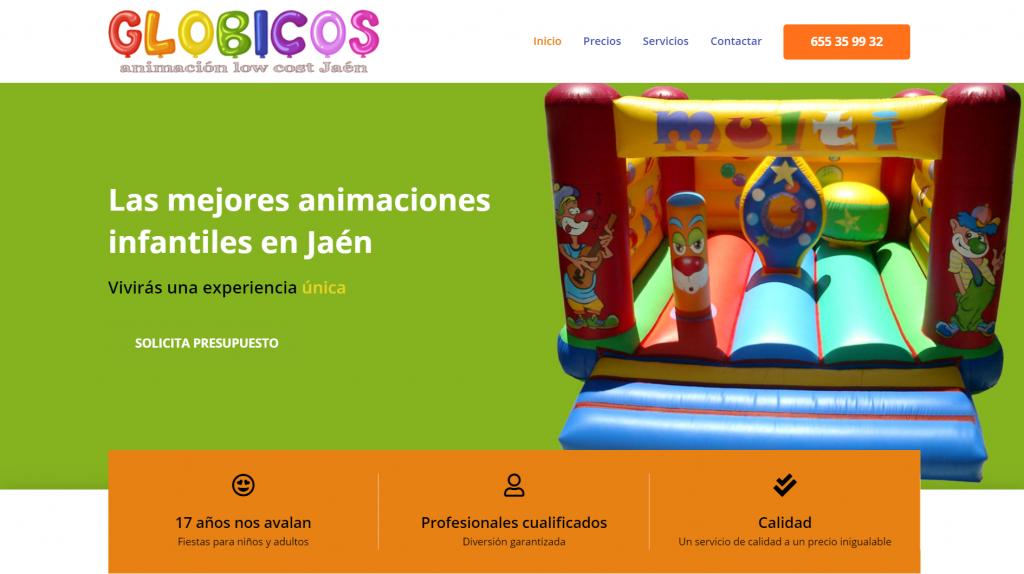 diseño web Jaén para empresa de animación infantil y animación para adultos lowcost